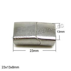 Jewelry Findings, Magnetic stainless steel cord clasp, Approx 23x13x8mm, Hole: Approx 12x6mm, 10 sets per bag, Sold by bags