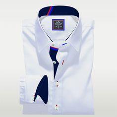 Mens White Dress Shirt, Plain White Shirt, White Shirts, Bespoke Shirts, Custom Made Shirts, Tailored Shirts, Casual Shirts, Types Of Dresses, Blue Fabric
