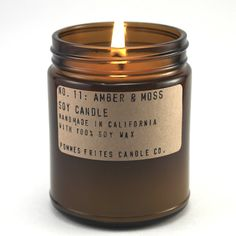 No. 11: AMBER & MOSS - 7.2 oz soy candle - clean masculine / unisex scent - P.F…