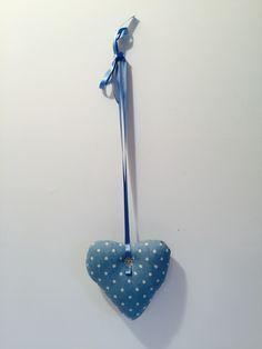 Blue spotty padded heart