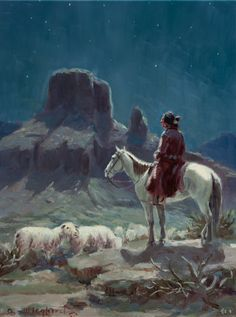 OLAF WIEGHORST (American, 1899-1988). Navajo Shepherd. Oilon board.   Lot #70013   Heritage Auctions
