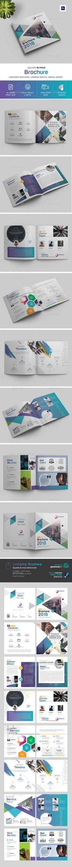 2018 Square Bi-Fold Brochure - #Print #Templates