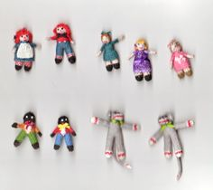 Various knitted toys. The sock monkey is my own design.