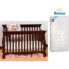 Storkcraft Carrara Convertible Crib (Your Choice Finish) with BONUS Kolcraft Mattress