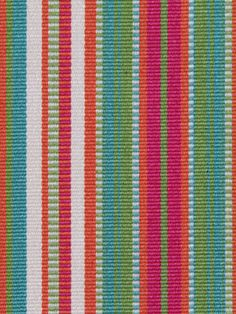 A modern, slightly textured upholstery fabric in 1/4 stripes of tangerine, hot pink, lime green, turquoise and ivory. This mid-weight fabric is
