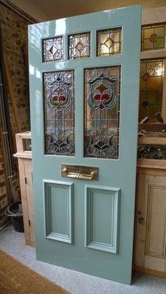 Art Nouveau Stained Glass Door Front Door - Just gorgeous! Victorian Front Doors, Wooden Front Doors, Front Door Entrance, Door Entryway, Painted Front Doors, House Front Door, Glass Front Door, House Entrance, Entry Doors