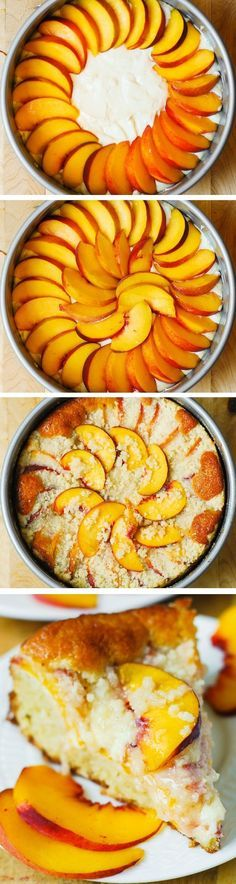 Peach Cream Cheese Cake - light and fluffy cake (made with Greek yogurt), creamy cheesecake filling, and a crunchy streusel topping!
