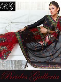 Black & Red Net Saree Designer Sarees