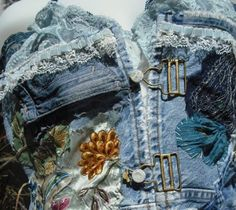 Vintage Denim and Lace Camisole Bustier Vest  by naughtymonkeys, $235.00