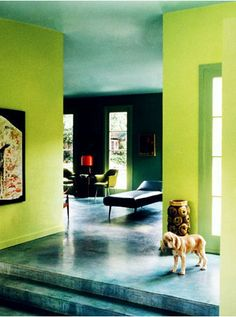 interesting combination between the floor and ceiling with the lime green walls.