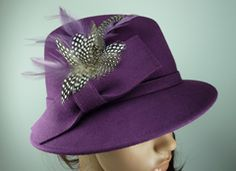 Purple Wool Trilby Hat with Natural Feather Plume