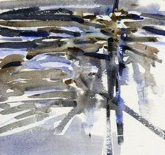 GRISAZUR: Acuarela sobre papel, 16,5x17,5 cm.Ene. 11, 2015