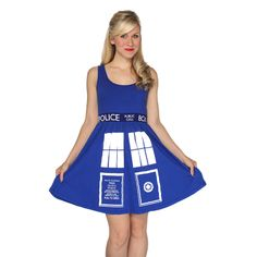 "Part of me says ""I'm supposed to be a grown up...I'm too old for this.""  The other part says ""Hm...I do look good in blue...MUST BUY TARDIS DRESS!!!"""