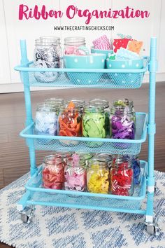 Ribbon Organization Cart idea from MichaelsMakers The Crafting Chicks