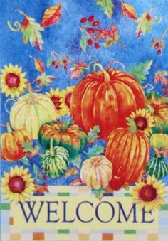 """WELCOME Fall Garden Flag Pumpkins - Small 12.5"""" x 18"""" for Thanksgiving Halloween House Porch Yard Autumn by Rain or Shine. $6.77. * Fade Resistant - Colorfast - Durable Construction. Features colorful pumpkins, falling leaves and sunflowers on a watercolor blue sky.. """"Welcome"""" Autumn Garden Flag.. 12.5 in. x 18 in.  - Indoor/Outdoor.. Great for Thanksgiving, Halloween or as a Fall Decoration. ~~** Welcome guests to your home with a Garden Flag by Rain or Shine! Great for..."""