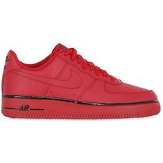 Nike Men Air Force 1 Faux Leather Sneakers ($96) ❤ liked on Polyvore featuring men's fashion, men's shoes, men's sneakers, sneakers, shoes, nike, red, nike mens shoes, mens sneakers and vegan mens shoes