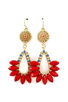 Beautiful evening earrings - red, blue and golden