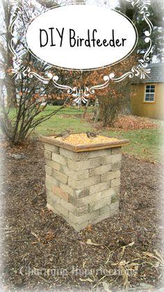DIY brick platform bird feeder. Birds love it and it adds a beautiful architectural element to your garden.
