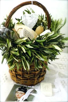 french wedding welcome bags decorated with a bouquet of olive branches and filled with luxurious soaps and creams Welcome Baskets, Gift Baskets, Bastille Day, Luxury Soap, Market Baskets, Wedding Welcome Bags, Welcome Gifts, Olive Tree, Topiary