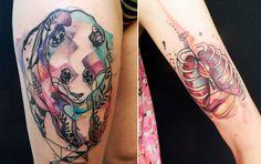 O fantástico trabalho da tatuadora que mistura rabiscos com belas aquarelas