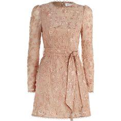 ZIMMERMANN Bowerbird A-line Mini Dress (6.784.530 IDR) ❤ liked on Polyvore featuring dresses, vestidos, long sleeve a line dress, sheer dress, high neck long sleeve dress, long-sleeve mini dress and beige dress