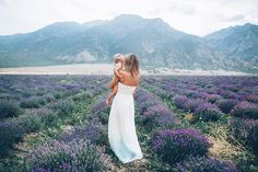 mama and baby in lavender fields