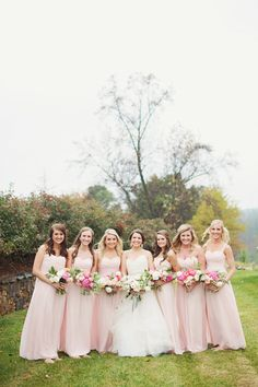 Blush bridesmaids | Read More: http://www.stylemepretty.com/2014/06/12/romantic-wedding-at-walnut-hill-farms/ | Photography: The Reason Photography - thereasonilove.com/