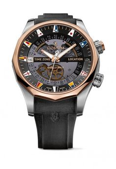 The @corumwatches Admirals Cup Legend 47 WorldTimer is shown here with a two-tone titanium and rose gold case with a smoky sapphire dial. It comes equipped with the automatic caliber CO637, a 31-jewel, 28,800-vph-frequency movement with a 48-hour power reserve. More @ http://www.watchtime.com/wristwatch-industry-news/watches/corum-admirals-cup-collection-expands-with-legend-47-worldtimer/ #corum #watchtime #watchnerd #Baselworld2016