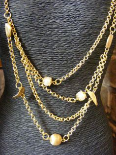 Gold Tone Layer Necklace by Jacquigems by Jacquigems on Etsy, £16.99