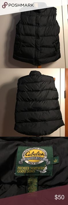 Cabela's Premier Northern Goose-down Small Vest Cabela's Premier Northern Goose-down Black Small Vest. Cabela's is the world's foremost outfitters of outdoor gear since 1961. This has two inside and out. From a smoke free home. Bundle & save, thanks for looking 😉. Cabela's Jackets & Coats Vests