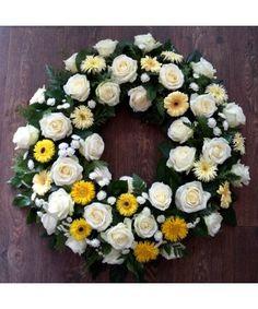 Coroana rotunda in alb si galben. Funeral Bouquet, Gerbera, Floral Wreath, Wreaths, Decor, Floral Crown, Decoration, Door Wreaths, Deco Mesh Wreaths