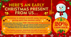 With Tdb Platform, the joy of Christmas has arrived early! Tdb Platform Start referring your friends today by clicking here: https://www.thedollarbusiness.com/referrals and make the most of the festive season. Spread the festive joy by distributing the gift of prosperity!