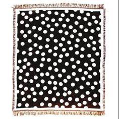 """Black and White Polka Dots Afghan Throw Blanket 50"""" x 60"""""""