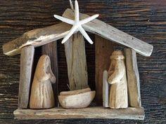Driftwood nativity ornament, nativity scene, Ready to ship ornament, baby Jesus manger Christmas decoration ornament Beach House Dreams