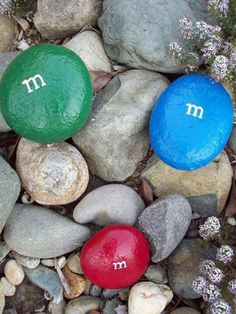 painted rocks - m & m