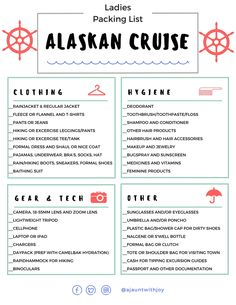 PRINTABLE : Ladies Packing List for an Alaskan Cruise! Created by A Jaunt With Joy —who seasonally works onboard cruise ships and has cruised many times to Alaska! (www.ajauntwithjoy.com) @ajauntwithjoy