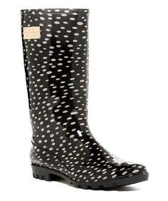 Black & White Dot Rainday Rain Boot