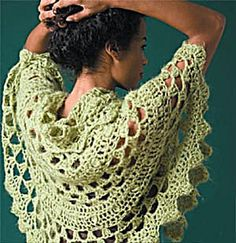 Free crochet shawl pattern.  Half Moon Shawl #60274AD by Lion Brand Yarn