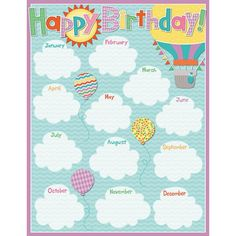 Soar to success with the Up and Away collection. Proudly display your students' birthdays on this chart that features balloons floating among clouds in the sky and a separate writing space for each month of the year.