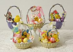 Lot's of Easter Creations Going on Over Here! I have a lot of Sweet one of a kind Easter Baskets Filled with Vintage and New Easter Delights...