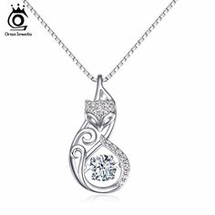 ORSA JEWELS Cute 925 Silver Fox Pedant Necklaces Insert 1ct Movable Charm CZ Diamond Rhodium Sterling Silver Jewelry SN53