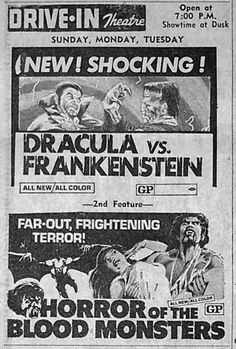 """Double feature of """"Dracula vs. Frankenstein"""" and """"Horror of the Blood Monsters"""""""