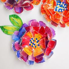 These hyper-colorful flowers are beautiful and super easy to make too!