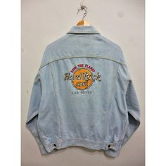 Vintage Hard Rock Cafe Las Vegas Emboidered Souvenirs Light Wash jeans... ($40) ❤ liked on Polyvore featuring outerwear, coats, denim jacket, denim and jean jacket