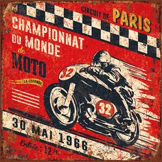Vintage Motorcycles Art Print: Championnat monde 1966 by Bruno Pozzo : - Vintage Signs, Vintage Cars, Vintage Ideas, Illustrations Vintage, Cartoon Illustrations, Motorcycle Posters, Creation Photo, Garage Signs, Paris Mode