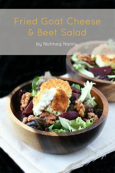 Fried Goat Cheese and Beet Salad by Nutmeg Nanny