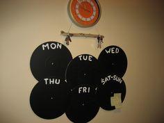Week schedule from vinyl records!!
