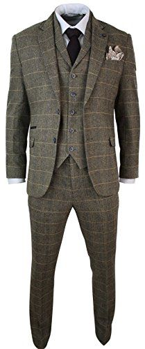 Mens 3 Piece Classic Tweed Herringbone Check Tan Brown Slim Fit Vintage Suit