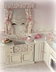 Shabby chic kitchen. - yeah, it's a dollhouse.