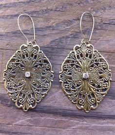 Victorian Filigree Earrings  Old World Bronze by RedGypsyJewelry